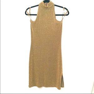 Ralph Lauren gold body con halter dress. S…